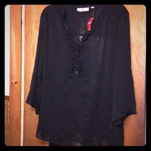 Black sheer plus size blouse